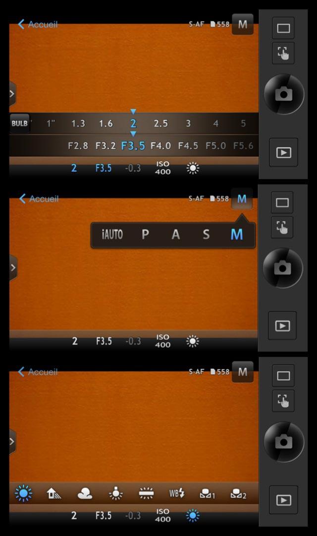 Trois captures d'écran de l'appli OI. Share télécommandant l'Olympus Stylus 1.