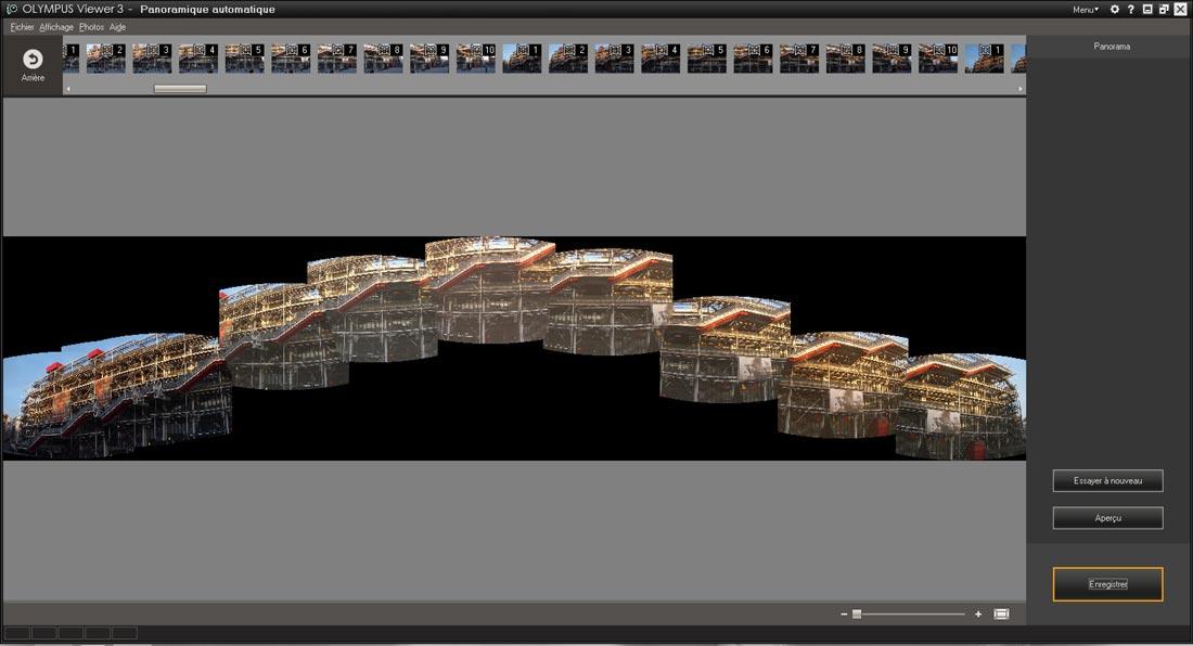 Test Olympus Stylus 1 : aperçu d'un pano réalisé à main levée et avec le logiciel associé.