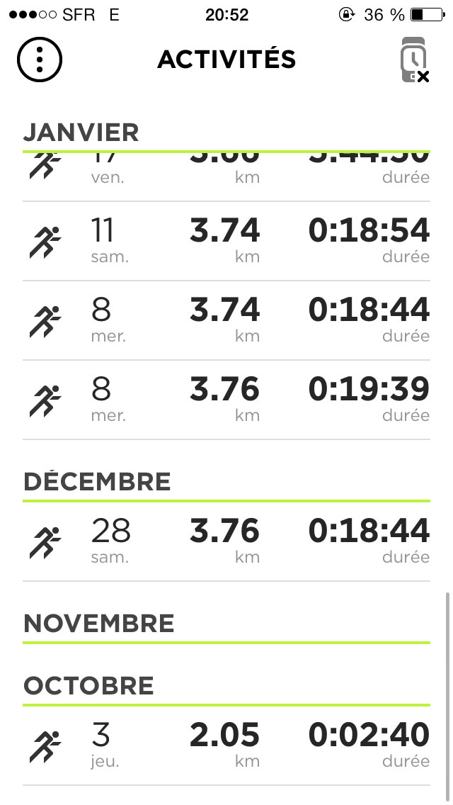 Capture d'écran de l'application MySports dédiée à la montre GPS TomTom Runner.