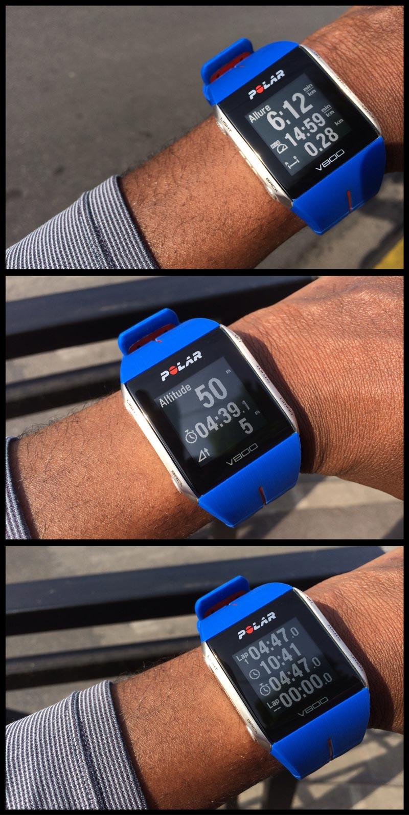 La montre de sport GPS Polar V800 : exemples d'écrans. Ph Moctar KANE.