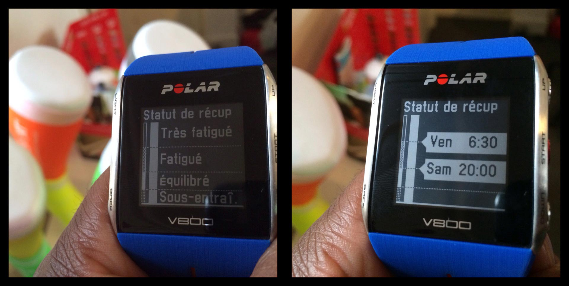 La montre de sport Polar V800 : affichage de la fonction récupération. Ph Moctar KANE.