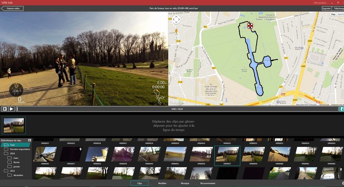 Virb Edit, le logiciel de montage de la caméra d'action Garmin Virb.