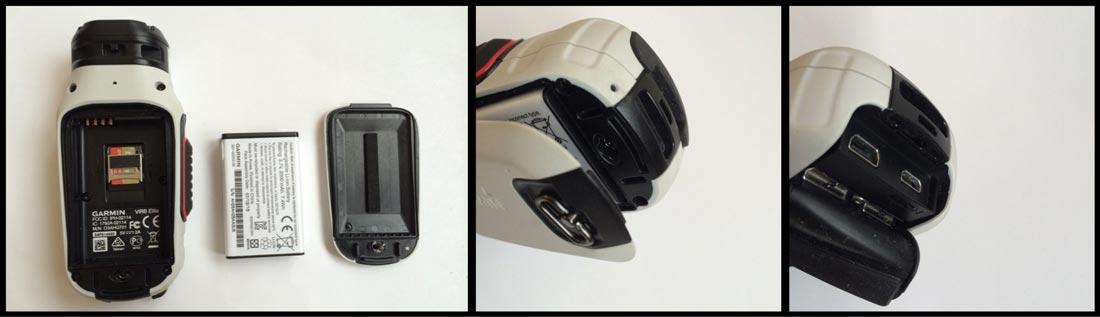 La caméra d'action Garmin Virb Elite, sa batterie de 2000 mAh, ses prises HDMI et USB.