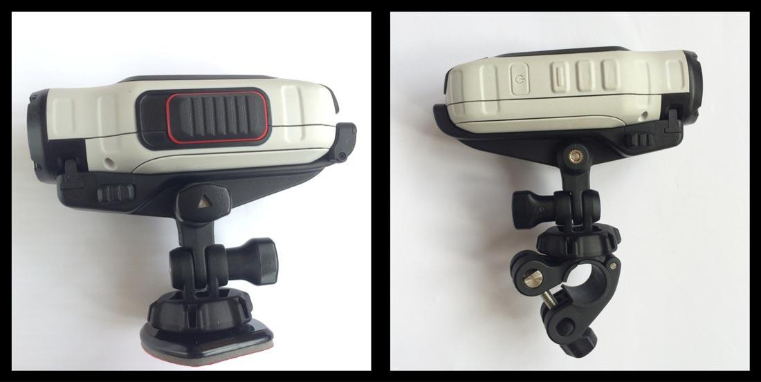 La caméra d'action Garmin Virb Elite, sur supports pour surface plane et vélo.