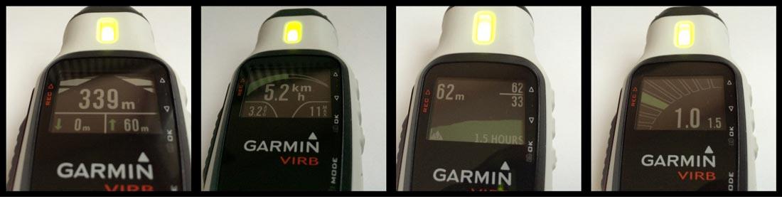 La caméra Garmin Virb Elite et quatre des sept écrans de son mode tableau de bord.