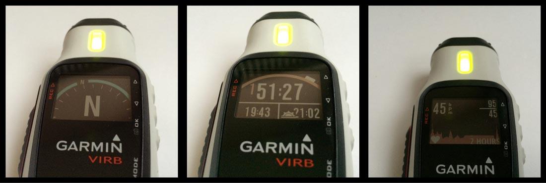 La caméra Garmin Virb Elite et trois des sept écrans de son mode tableau de bord.