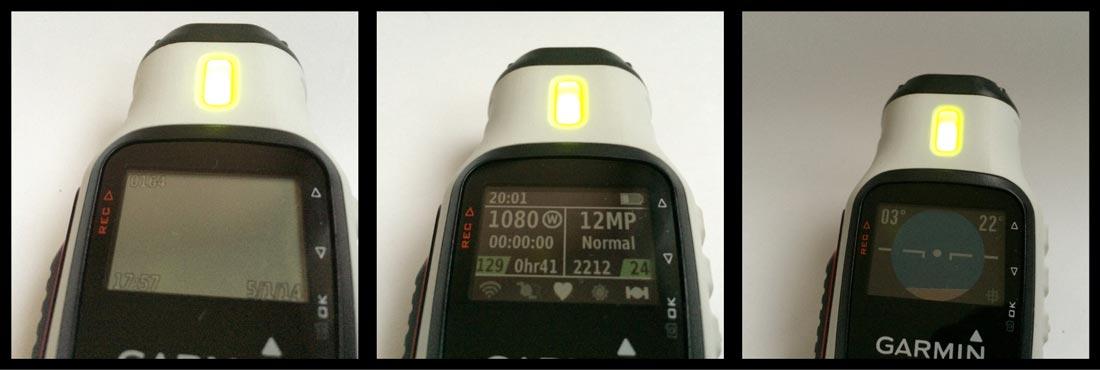 La caméra Garmin Virb Elite et les trois écrans de son mode viseur.
