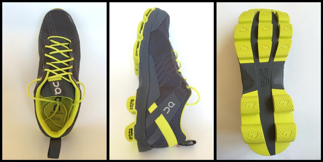Le modèle gris/fluo des chaussures de running On Cloudsurfer. Ph. Moctar KANE.