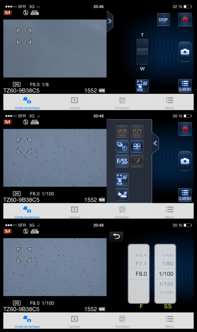 Différentes commandes de l'application Panasonic Image App.