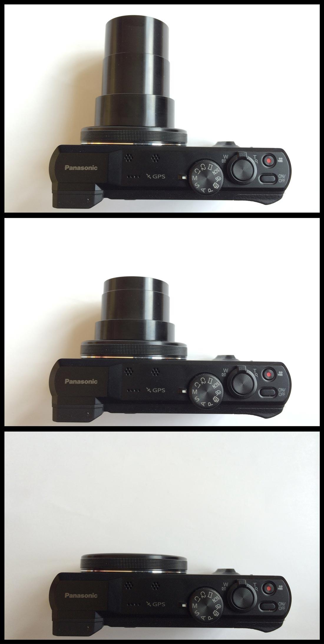 Le TZ60 éteint, le zoom en position grand angle et téléobjectif. Ph. Moctar KANE.