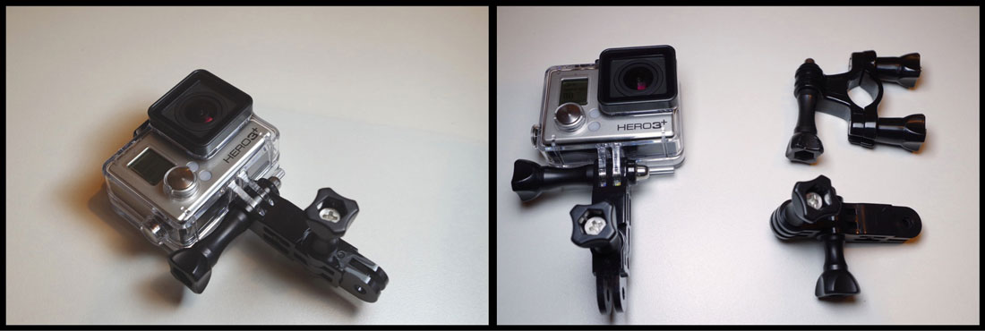 L'action cam GoPro Hero3+ Black Edition avec des fixations, dont le support vélo. Ph. Moctar KANE.
