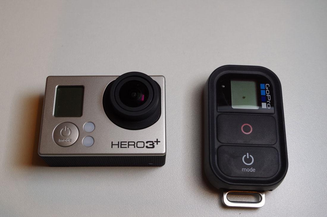 L'action cam GoPro Hero3+ Black Edition et sa télécommande Wifi. Ph. Moctar KANE.