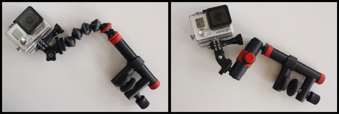 Les Joby Action Clamp & Gorillapod Arm et Action Clamp & Locking Arm avec une GoPro. Ph. Moctar KANE.