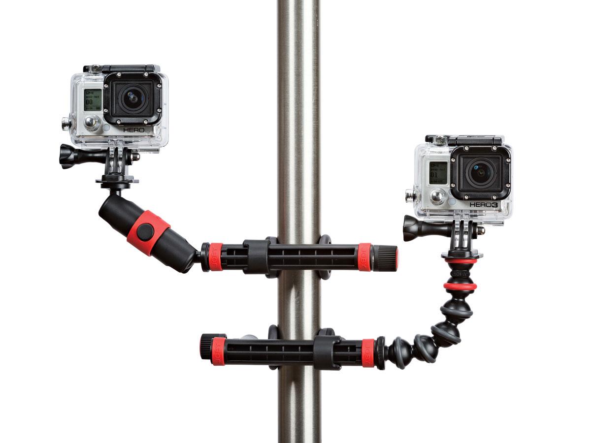 Les accessoires pour caméra d'action Joby Action Clamp & Gorillapod Arm et Action Clamp & Locking Arm.