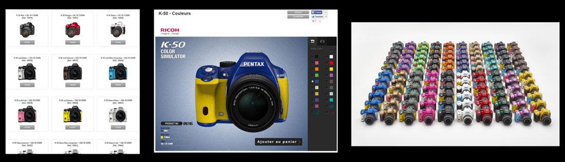 Le reflex Pentax K-50 : personnalisation possible en couleurs de l'appareil via le site.