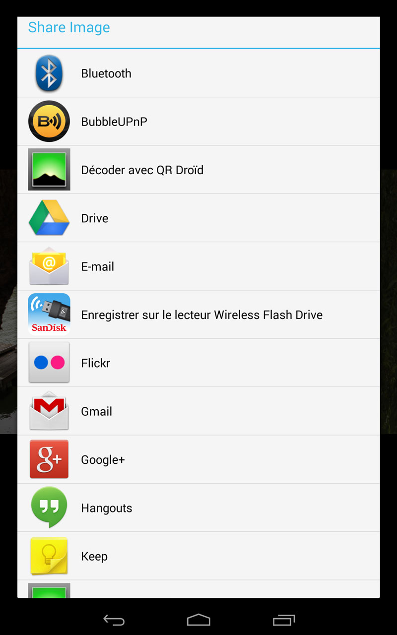 Exemples des partages possibles avec l'appli Weye Feye S en version Android.