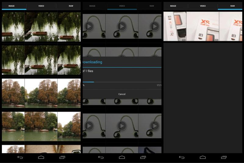 L'appli Weye Feye S (version Android) : galeries des photos en jpeg, RAW et des vidéos.