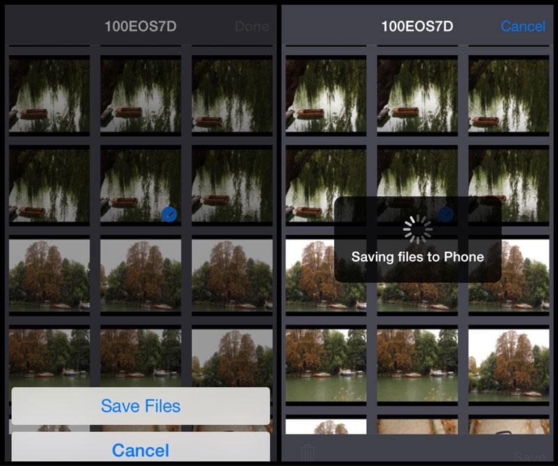 L'appli Weye Feye S (version iOS) : ici, elle est capable de sauvegarder une image en taille réelle.
