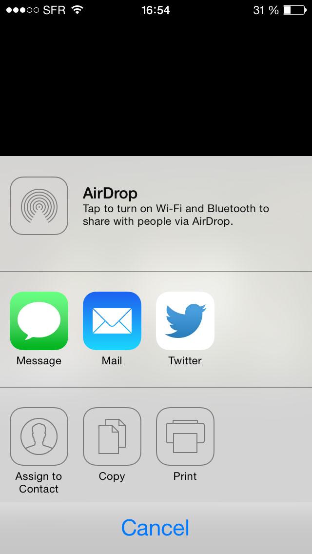 Exemples des partages possibles avec l'appli Weye Feye S en version iOS.