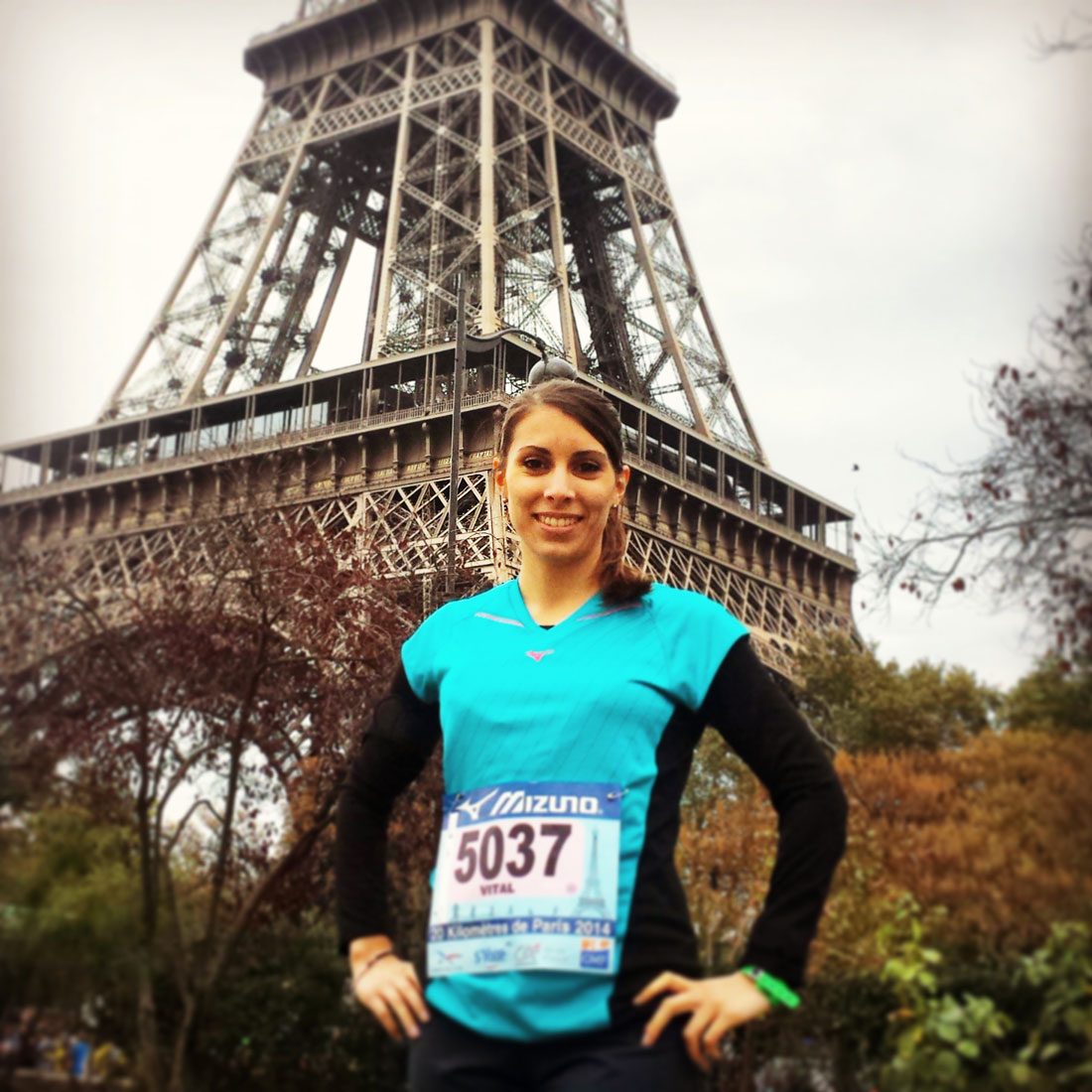 La journaliste Elodie Sillaro au 20 km de Paris, 12 10 2014.