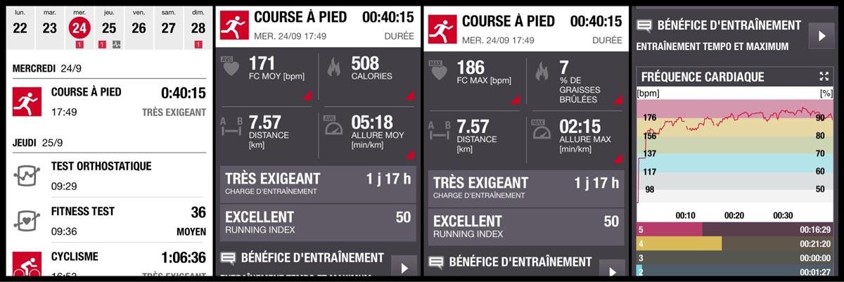 Captures d'écran de l'appli Polar Flow où s'affichent les données de ses séances d'entraînement.