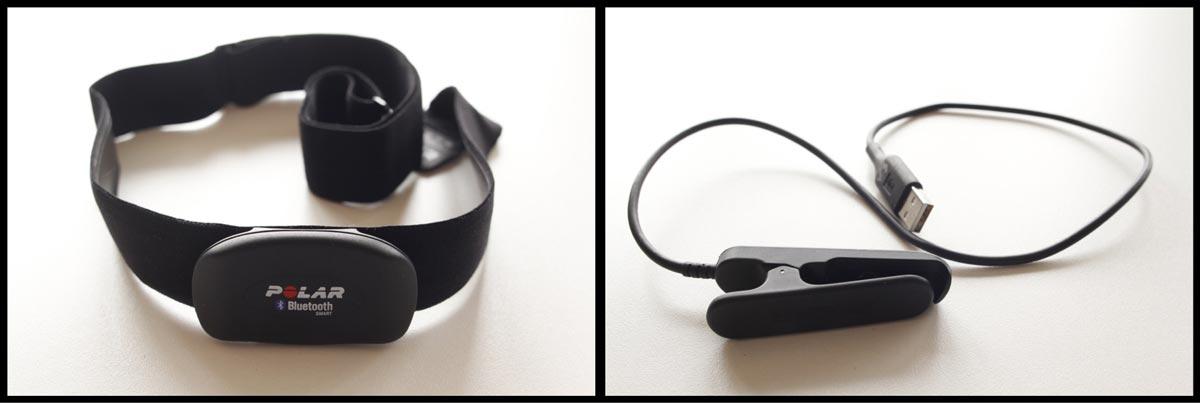 Deux accessoires de la montre GPS de sport Polar V800 : le cardio-fréquencemètre Bluetooth et le câble USB, Ph. Moctar KANE.