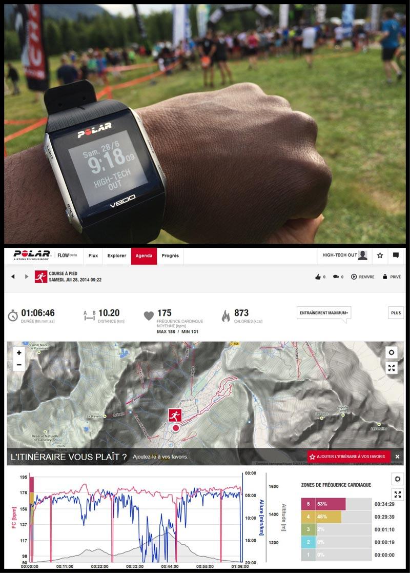 La montre GPS de sport Polar V800 avant une épreuve sportive et le bilan graphique de celle-ci sur le site Polar Flow. Ph. Moctar KANE.