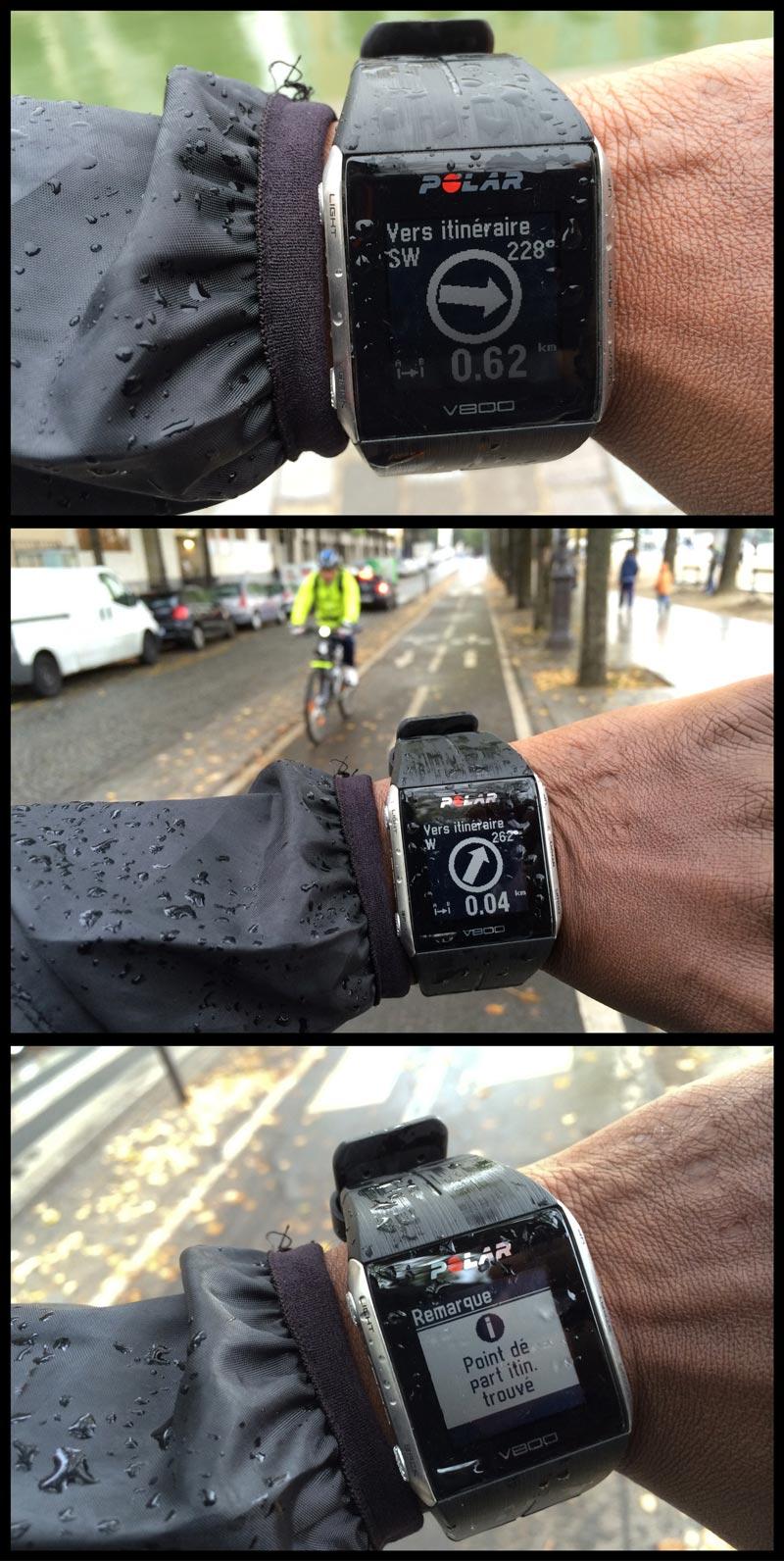 La montre de sport Polar V800 en mode guidage GPS : la cible ici est le point de départ d'un circuit importé, Ph. Moctar KANE.