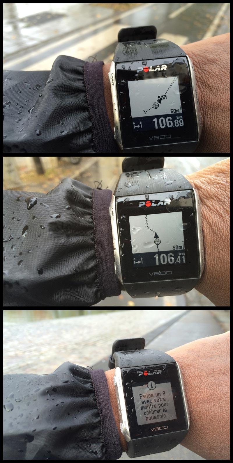 La montre de sport Polar V800 en mode guidage GPS : elle suit ici le tracé d'un parcours importé, Ph. Moctar KANE.