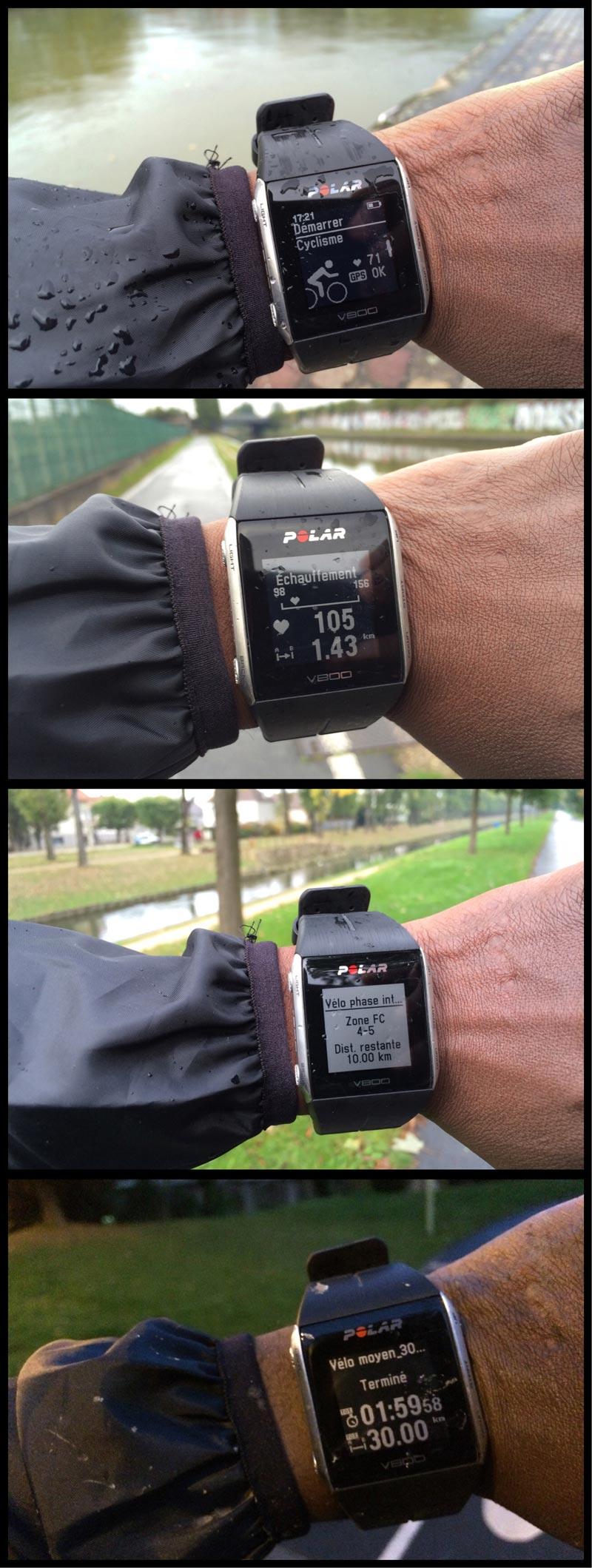 Suivi sur le terrain avec la montre Polar V800 d'une séance de vélo découpées en phases d'intensité cardiaque variable, Ph. Moctar KANE.