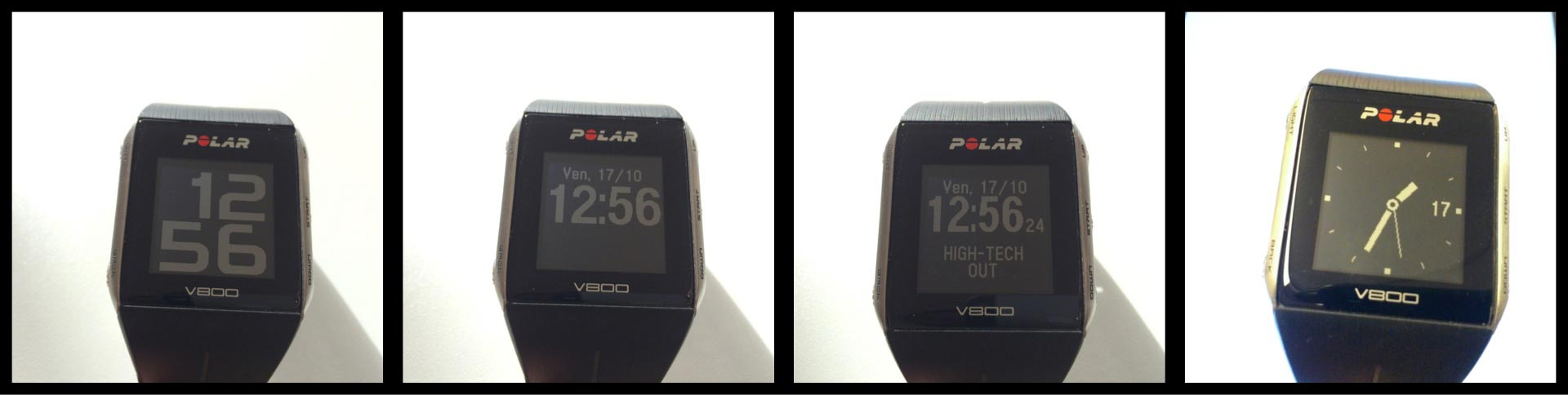La montre GPS de sport Polar V800 avec ses différents affichages de l'heure, Ph. Moctar KANE.