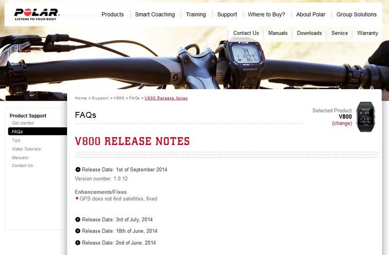 Notes d'informations de la mise à jour de septembre 2014 de la montre GPS de sport Polar V800.