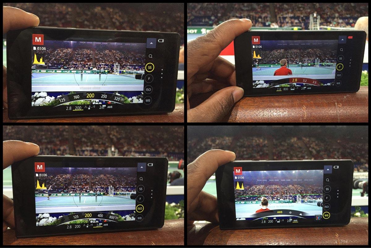 Le smartphone Panasonic Lumix DMC-CM1 : réglages de paramètres via la bague frontale. Ph. Moctar KANE.