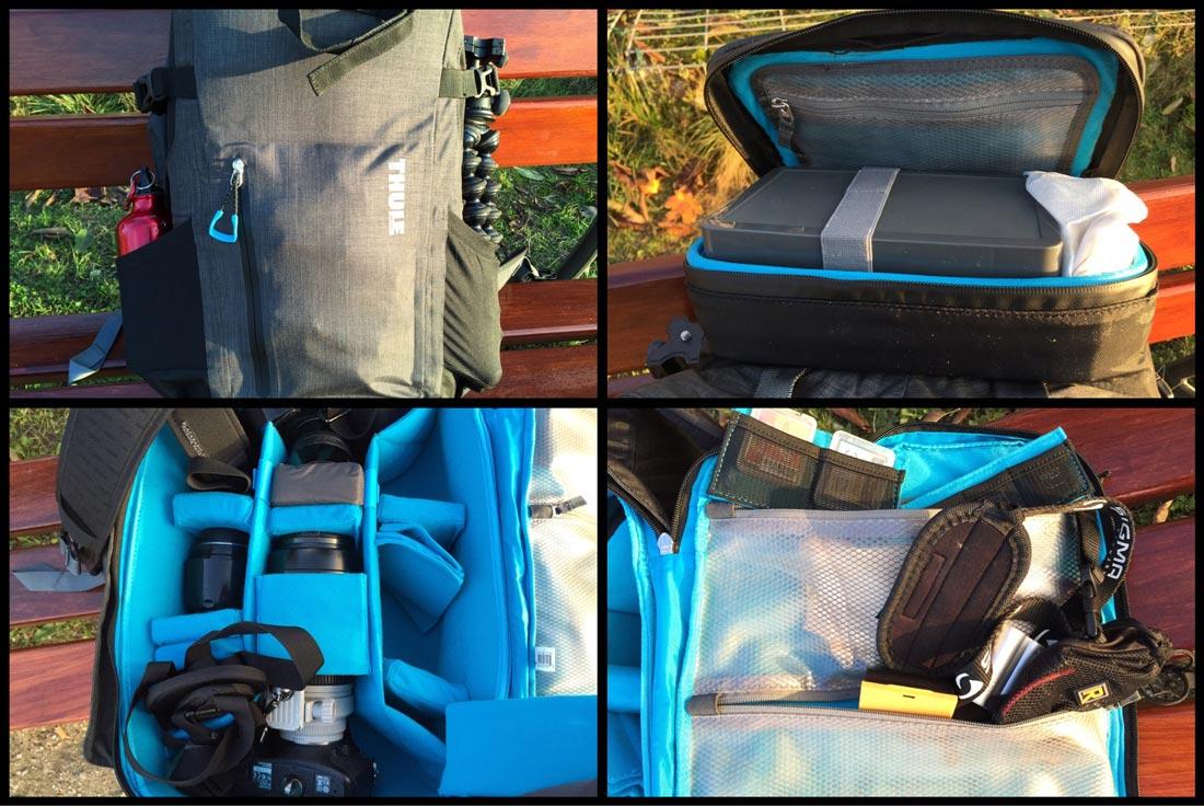 Le sac à dos Thule Perspektiv Backpack réserve beaucoup de place au matériel photo et bien moins aux effets personnels, Ph. Moctar KANE.