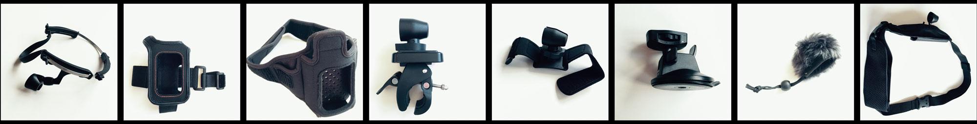 Accessoires compatibles de l'action cam Panasonic HX-A500, 12 2014. Ph. Moctar KANE.