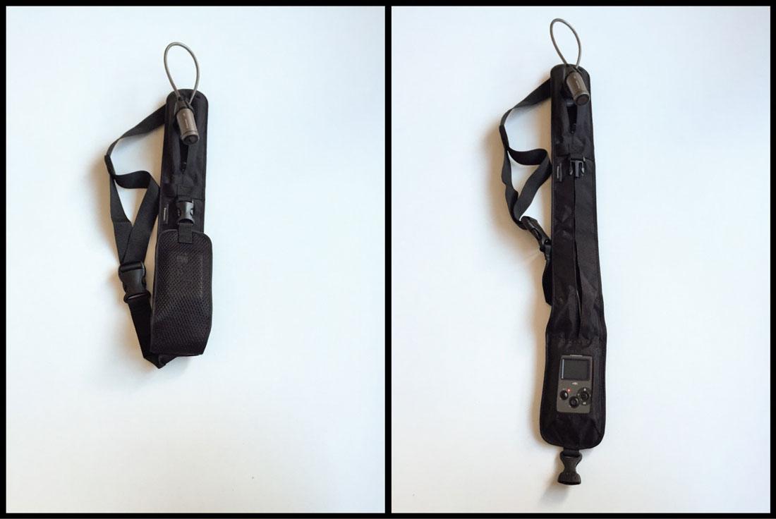 L'action cam Panasonic HX-A500 dans sa bandoulière, 12 2014. Ph. Moctar KANE.