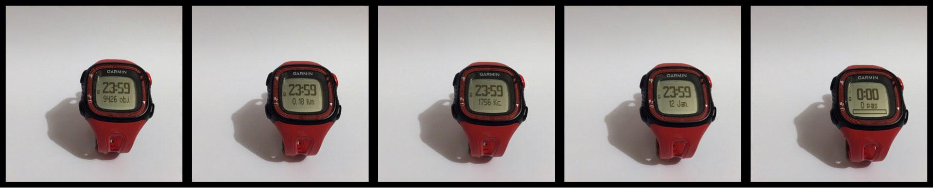 Les différents affichages de la montre GPS de running Garmin Forerunner 15. Ph. Moctar KANE.