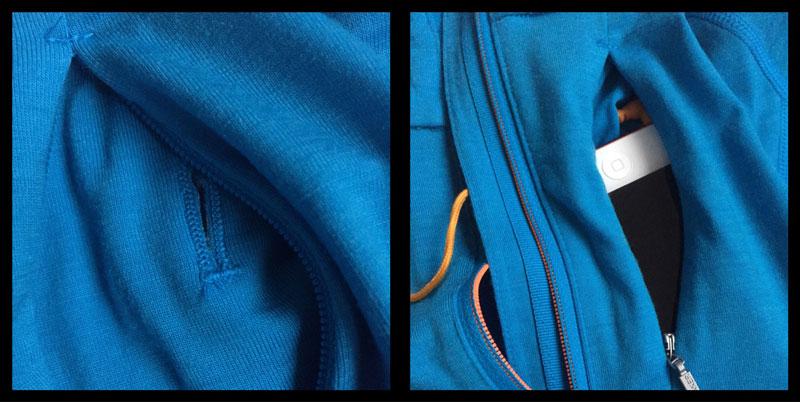 Le tee-shirt Icebreaker Drive Long Sleeve Half Zip, avec son orifice par lequel passe un câble d'écouteurs, Ph. Moctar KANE.
