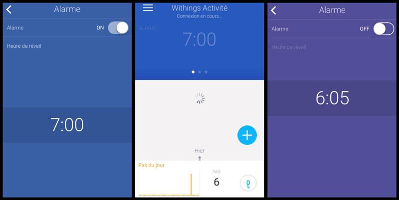 Réglage du réveil de la montre Withings Activité via l'application.