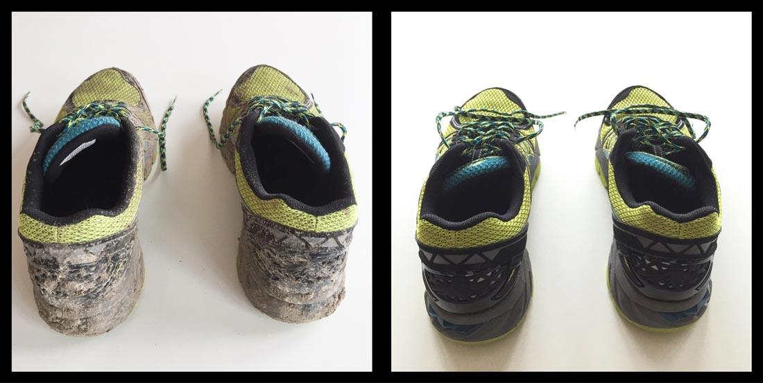 Les chaussures de trail Asics Gel Fuji Trabuco 3 revenues de terrain, avant et après lavage, Ph. Moctar KANE.