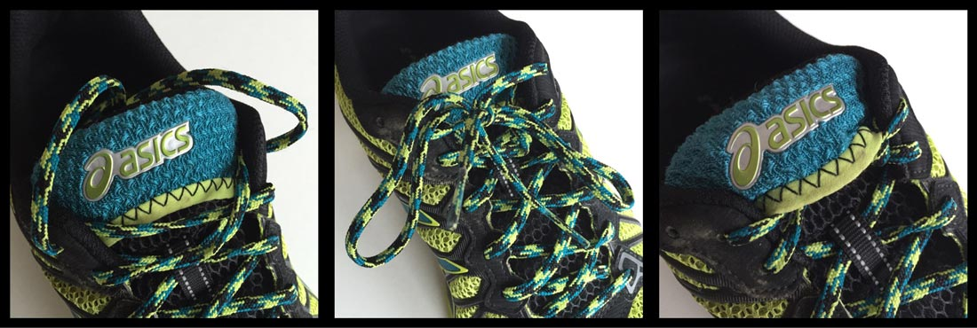 La chaussure de trail Asics Gel Fuji Trabuco 3 et sa poche pour loger les bouts du lacet, Ph. Moctar KANE.