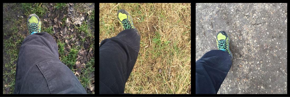 La chaussure de trail Asics Gel Fuji Trabuco 3 sur différents terrains, Ph. Moctar KANE.