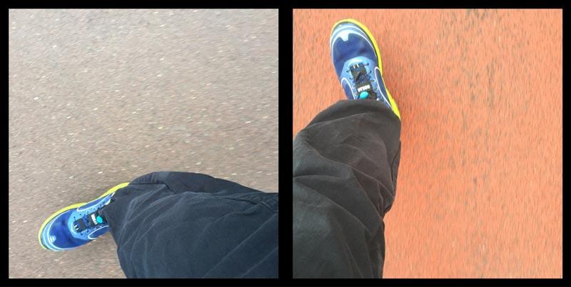 Chaussure de running Hoka One One Conquest, sur route et dans un stade, 2015 Ph Moctar KANE.