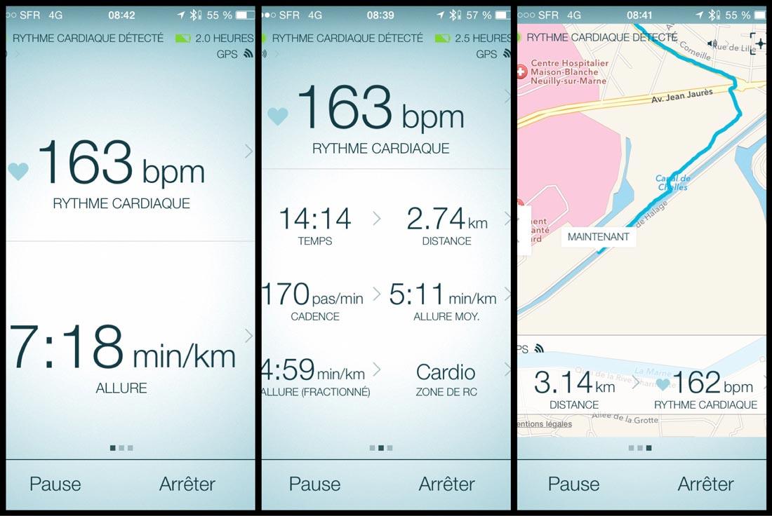 Écrans de l'appli des Jabra Sport Pulse Wireless pendant une course à pied.
