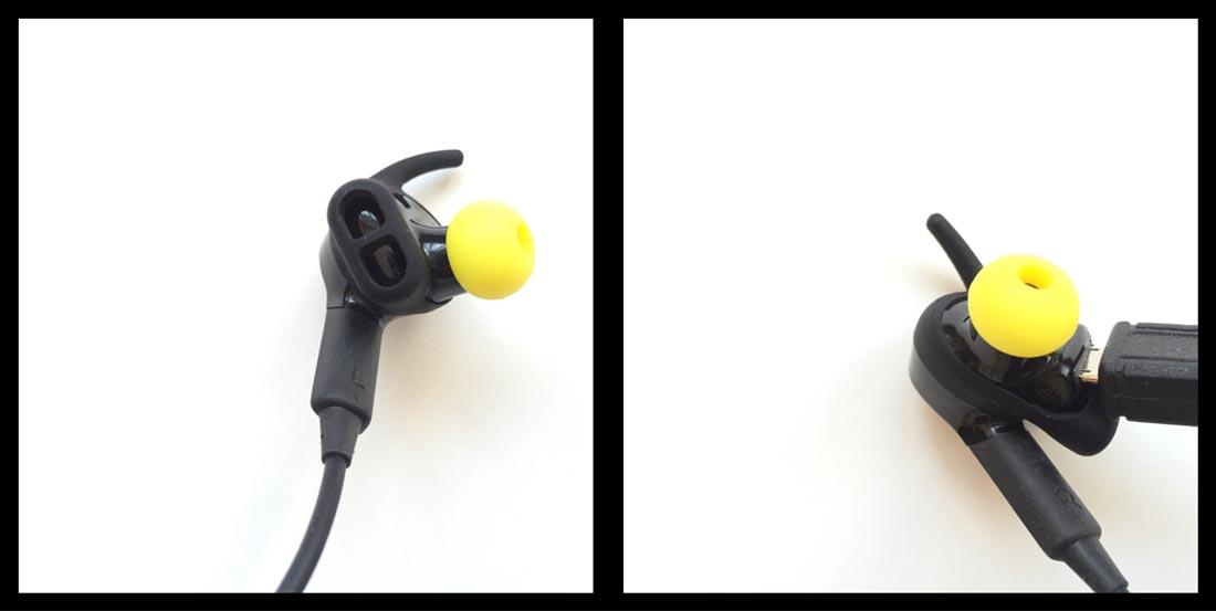 L'oreillette gauche intégrant le capteur cardiaque et l'oreillette droite où se trouve la prise micro USB pour la recharge, Ph. Moctar KANE.