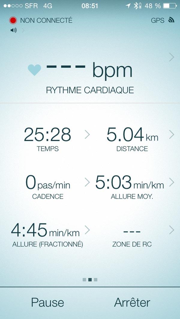 Capture d'écran de l'appli des Jabra Sport Pulse Wireless pendant une course à pied : la détection cardiaque n'est pas marquée.