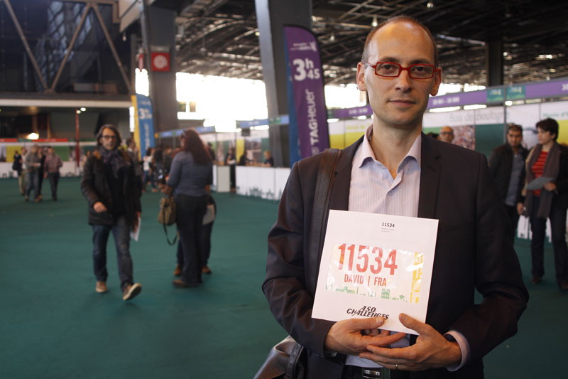 David, au Salon du Running du Marathon de Paris 2015. Ph. Moctar KANE.