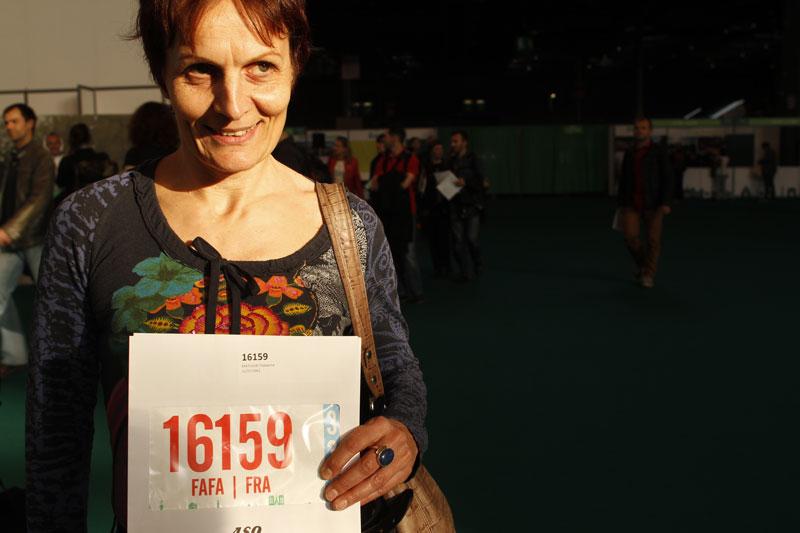 Fabienne, au Salon du Running du Marathon de Paris 2015. Ph. Moctar KANE.