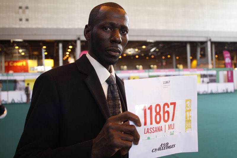 Lassana, au Salon du Running du Marathon de Paris 2015. Ph. Moctar KANE.