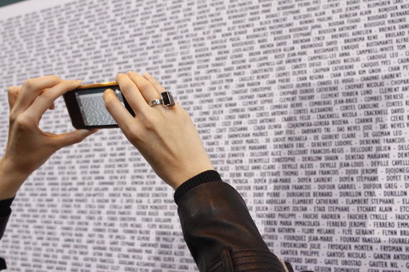 Mur des participants au Marathon de Paris, Salon du Running, 09 04 2015. Ph. Moctar KANE.